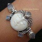 925 Silver & 5 Rainbow Moonstone Goddess Bracelet GDB-689-KT