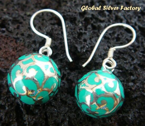 925 Silver & Blue Chime Ball Earrings CBE-132-KA