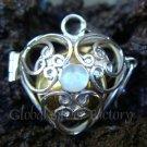 Silver Rainbow Moonstone Heart Harmony Ball Pendant HB-122a-KT