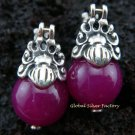 925 Silver Syntethic Purple Bead Earrings SJ-205-KT