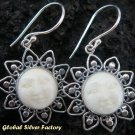 Silver Carved Bone Goddess Earrings GDE-562-NY