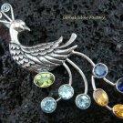 925 Silver Multi Gems Peacock Pendant SP-402-PS