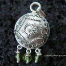 Silver & Peridot Dangle Beads Chime Ball Pendant CH-226-KT