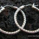 925 Silver 27mm Rope Design Hoop Earrings SE-131-KT