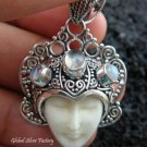Silver & Rainbow Moonstone Goddess Pendant GDP-781-KT