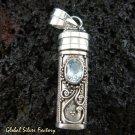 925 Silver & Blue Topaz Perfume Pendant PP-321-GSF