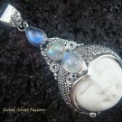 925 Silver Three Moonstone Goddess Pendant GDP-843-KT