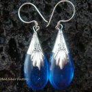 925 Silver Synthetic Blue Sapphire Teardrop Earrings SJ-142-KT