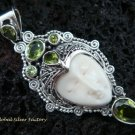 Sterling Silver & Six Peridot Goddess Pendant GDP-869-PS