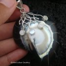 925 Silver White & Black Shell Pendant SP-404-KT