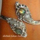 Silver Labradorite Double Snake Head Bangle SBB-205-KA