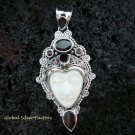 Sterling Silver & Six Garnet Goddess Pendant GDP-871-PS
