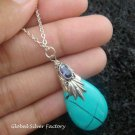 925 Silver Turquoise (syn) & Amethyst Necklace SJ-212-KT