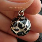 Silver Filigree Black Chime Ball Pendant CH-109-KT