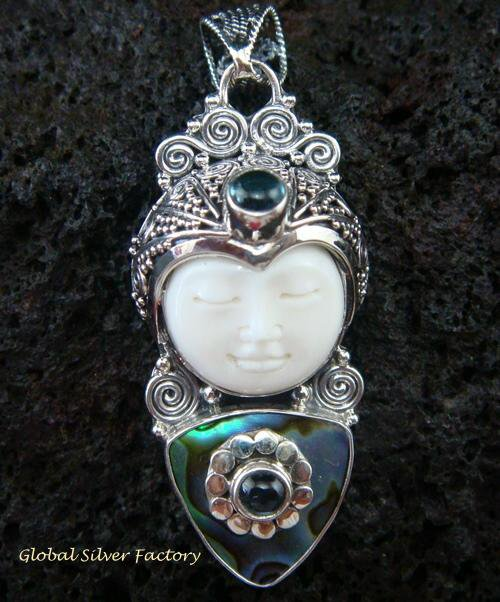 Silver Paua Shell Topaz Goddess Pendant GDP-916-PS