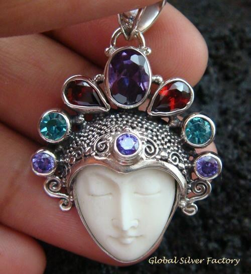 Sterling Silver & Mixed Gemstone Goddess Pendant GDP-892-KA