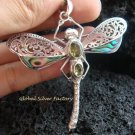 925 Silver Paua Shell & Peridot Dragonfly Brooch Pendant BC-150-KT
