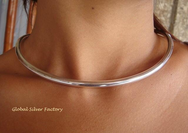 .925 Silver Open Back 4mm Round Choker NS-120-PS