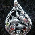 925 Silver Three Fish & Mixed Gems Pendant SP-420-KT