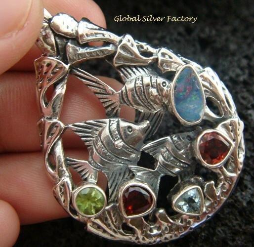 925 Silver Three Fish & Mixed Gems Pendant SP-419-KT