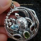 925 Silver Turtle & Mixed Gems Pendant SP-417-KT
