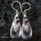 Silver Garnet Synthetic Teardrop Rose Quartz Earrings SJ-133-KT