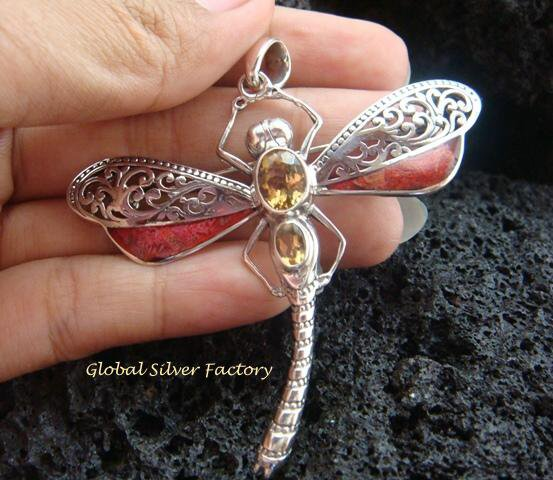 925 Silver Coral & Citrine Dragonfly Brooch Pendant BC-147-KT