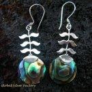 925 Silver Paua Shell Leaf Design Earrings ER-504-KT