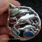 925 Silver Three Dolphins & Mixed Gems Pendant SP-414-KT