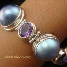 925 Silver 5 Pearls & 4 Amethyst Designer Bracelet SBB-318-KT