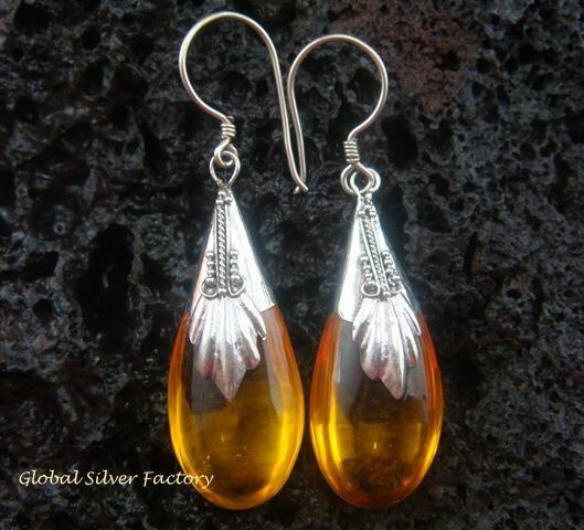 925 Silver Synthetic Amber Teardrop Earrings SJ-104-KT