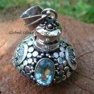 Sterling Silver Blue Topaz Perfume Bottle pendant PP-128-KT