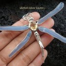 925 Silver & Blue Chalcedony Dragonfly Brooch Pendant BC-145-KT