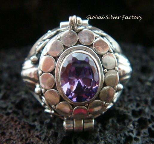 925 Silver Amethyst Poison Ring LR-550-KA