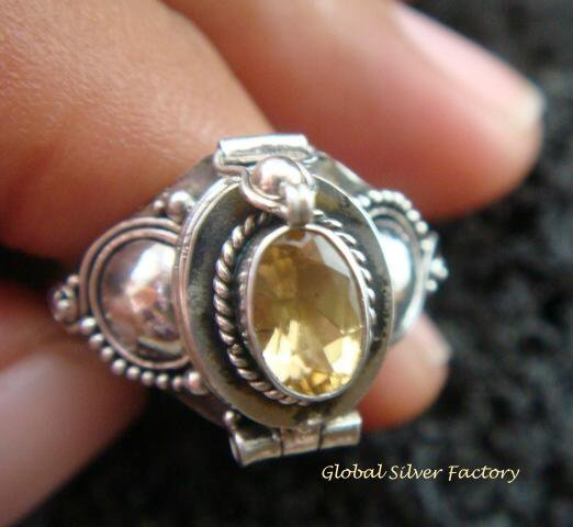 Silver & Citrine Locket Ring LR-539-KT