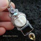 925 Silver & Smokey Quartz Goddess Pendant GDP-952-PS