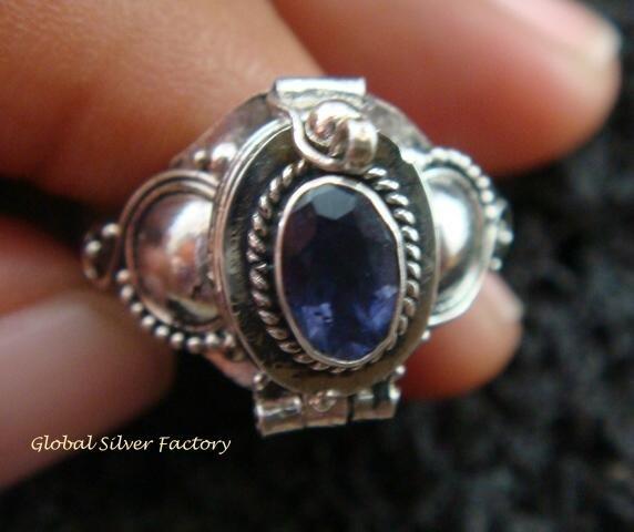 Silver & Amethyst Locket Ring LR-537-KT