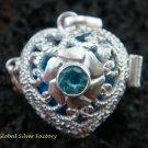 925 Silver Blue Topaz Heart Harmony Ball Pendant HB-309-KT