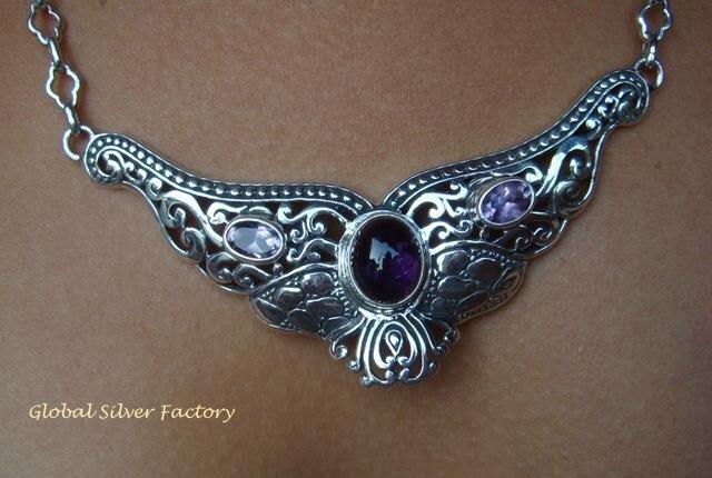 Sterling Silver & Amethyst Goddess Pendant NS-125-KT