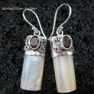 925 Silver Garnet & Shell Earrings ER-525-KT