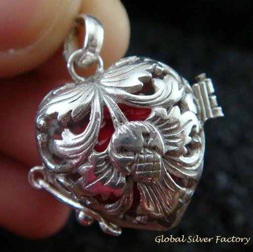 Sterling Silver Heart Harmony Ball Pendant HB-301-KT