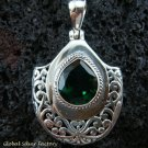 Bali Design Sterling Silver & Green Quartz Pendant SP-450-KT