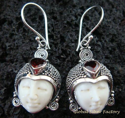 Sterling Silver & Garnet Goddess Earrings GDE-968-KT