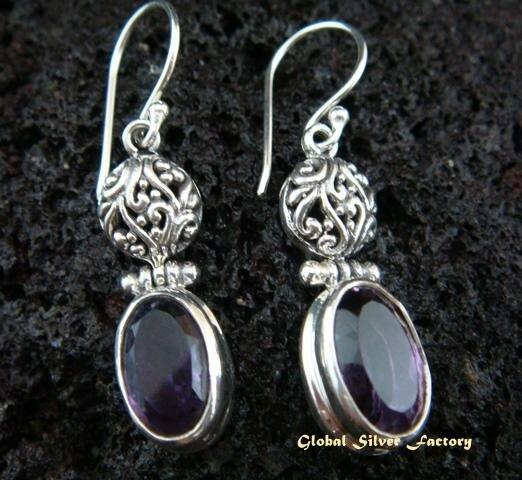 925 Silver & Amethyst Drop Earrings ER-445-NY