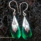 925 Silver Synthetic Green Quartz Teardrop Earrings SJ-127-KT
