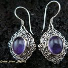 Antique 925 Silver Bali Amethyst Earrings ER-449-NY