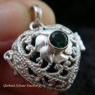 925 Silver Green Quartz Heart Harmony Ball Pendant HB-307-KT