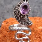 Sterling Silver Amethyst Large Snake Ring RI-110-NY