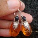 Silver & Synthetic Amber Earrings SJ-179-KT