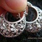 Sterling Silver Fragnipani Hoop Earrings SE-151-KT